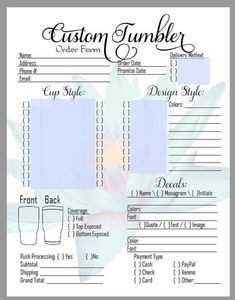 free tumbler order form template  Editable PDF TUMBLERS Order Form Decals HydroDip Letter ..