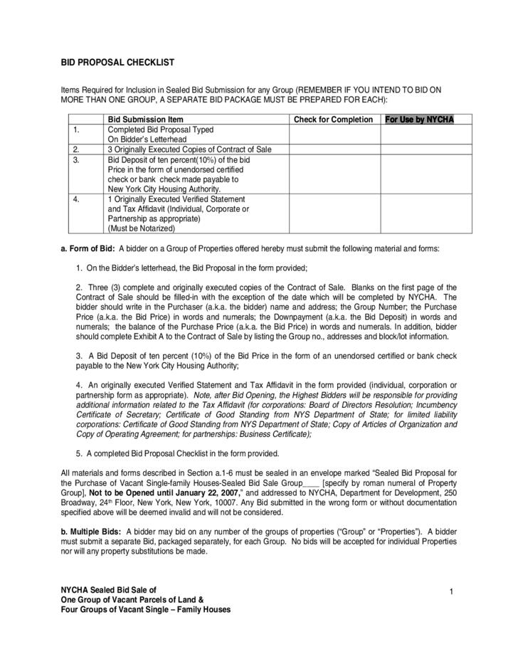 new york resume template  Bid Proposal Checklist - New York City Free Download - new york resume template
