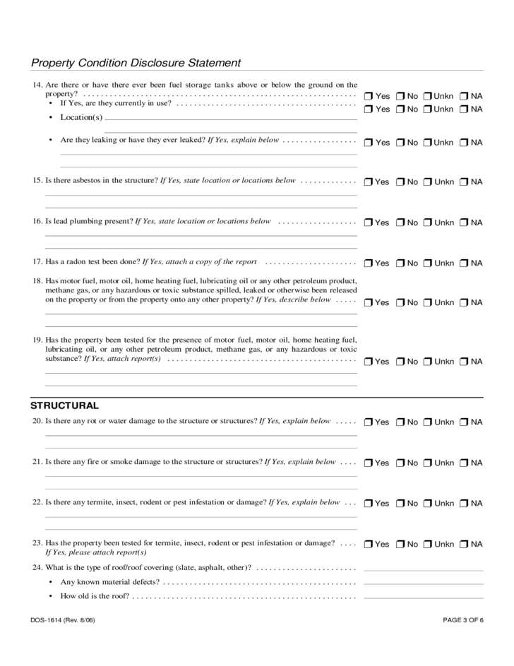 new york resume template  Property Condition Disclosure Statement -New York Free ..