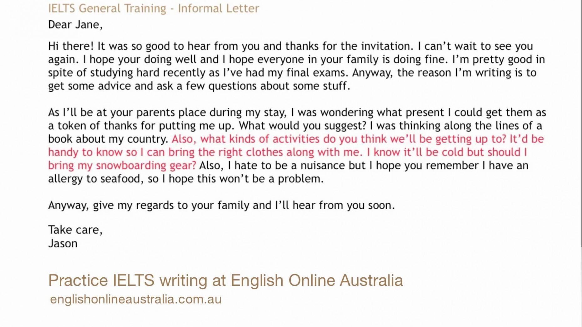 letter template informal  11+ example of informal writing | penn working papers - letter template informal