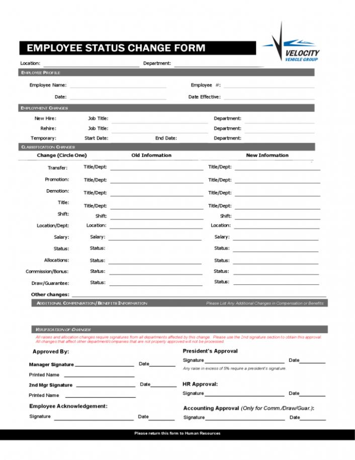 card template job card form pdf  Blank Employee Status Change Form Free Download - card template job card form pdf