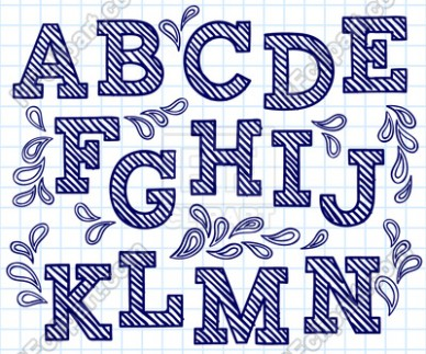 big letter y template  Blue hand drawn font - shaded letters and decorations ..