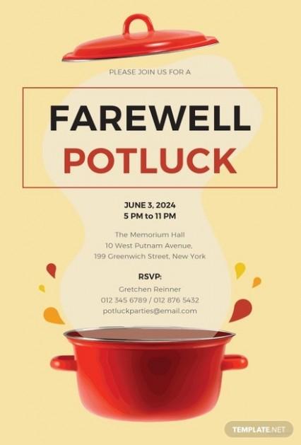farewell card template microsoft word  Free Farewell Potluck Invitation Template | Free Templates - farewell card template microsoft word