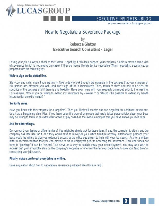 resignation letter template ontario  How to Negotiate a Severance Package - resignation letter template ontario