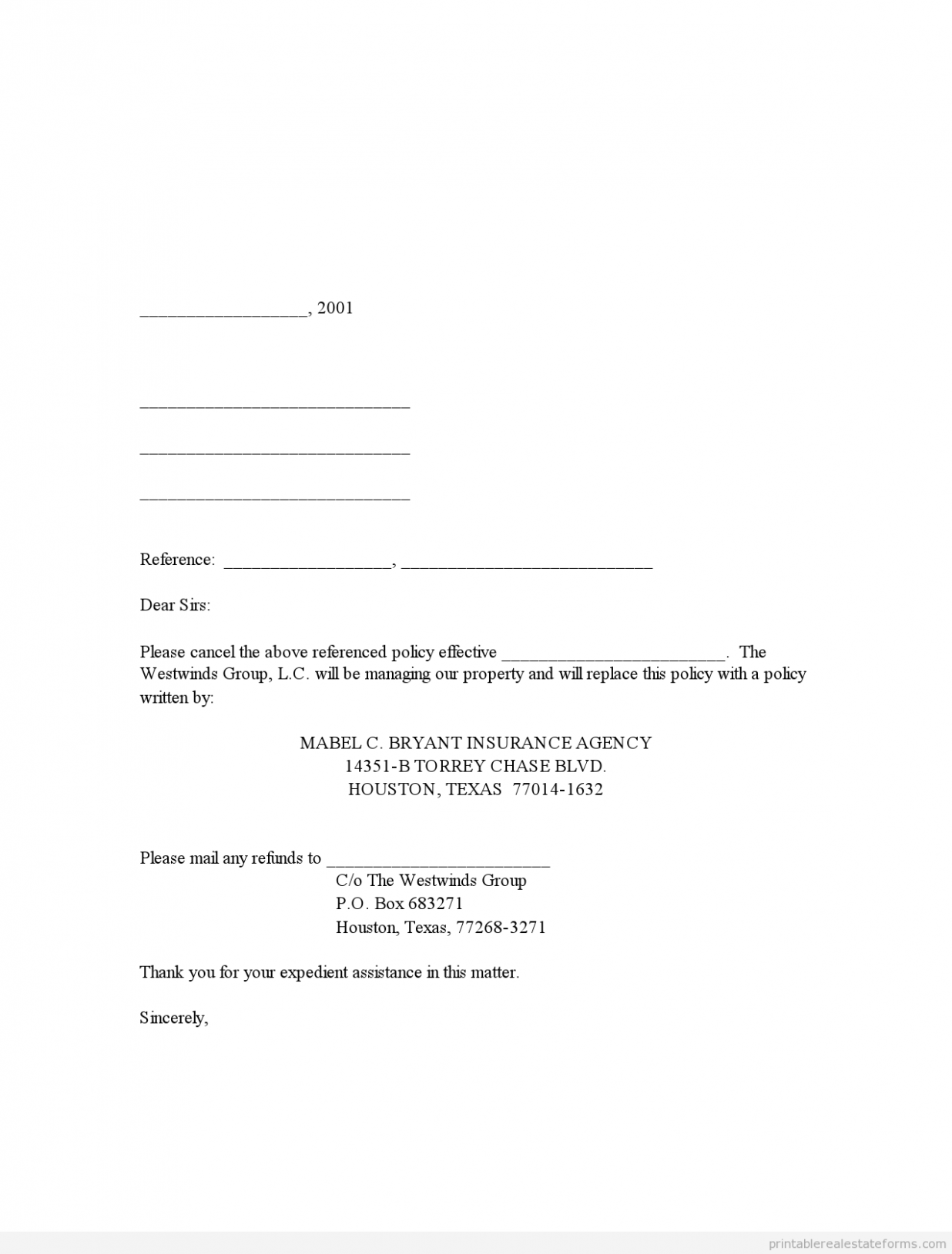 letter template to cancel insurance policy  PDF-Printable Cancellation of Existing Hazard Insurance - letter template to cancel insurance policy