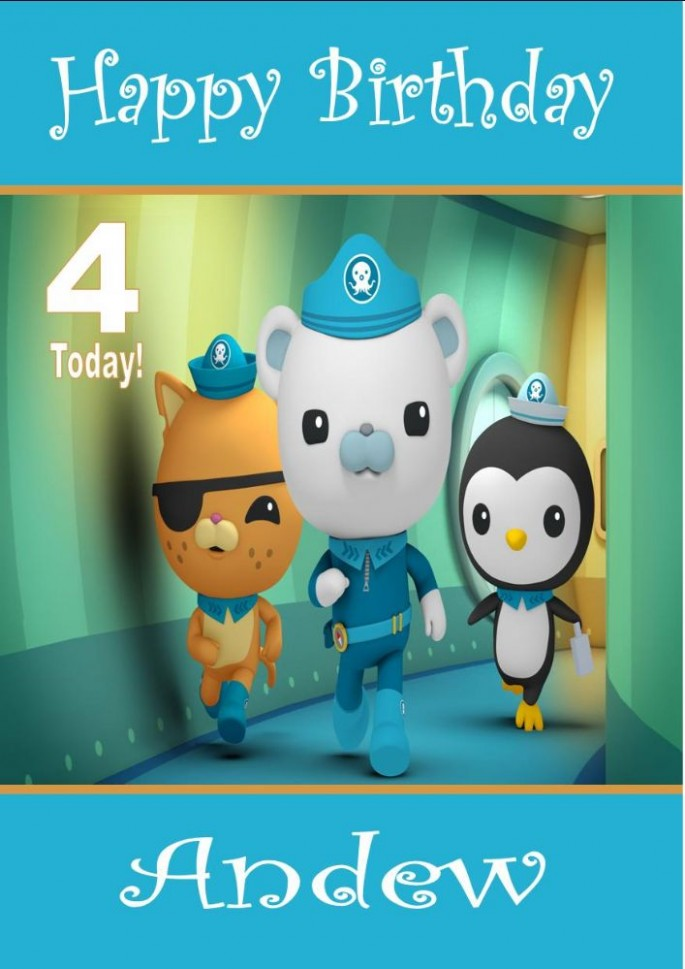 card template for kids  Personalised Octonauts Birthday Card - card template for kids