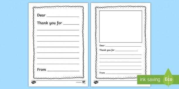 thank you card template kindergarten  Thank You Letter Writing Template - thank you, letter, writing - thank you card template kindergarten