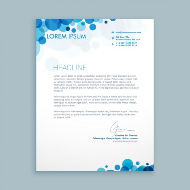 template design for letter  Business letter with blue circles | Free Vector - template design for letter