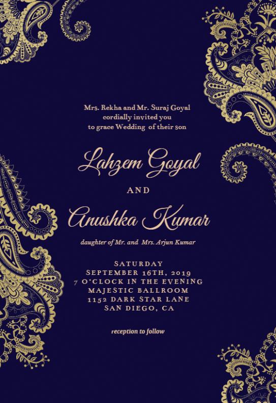 e-card design template  Elegant Henna - Wedding Invitation Template (free ..