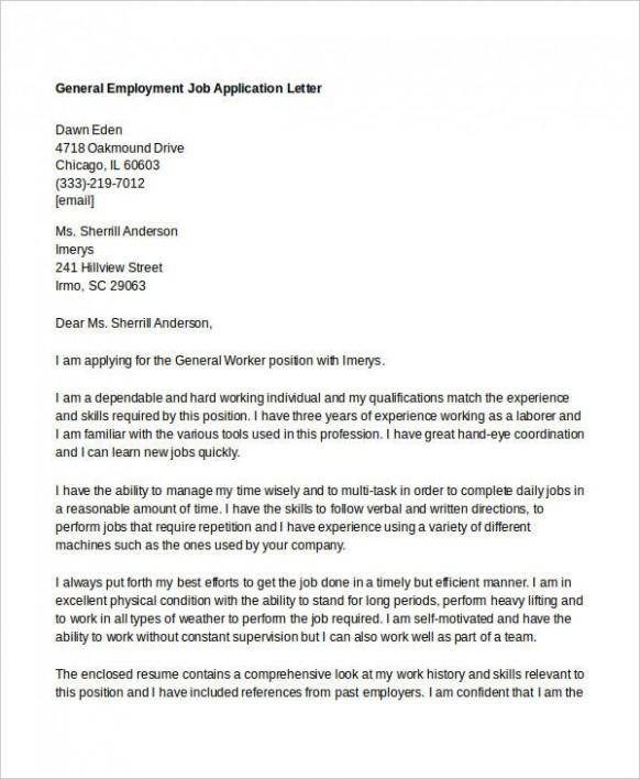 letter template job application  10+ Job Application Letter Templates for Employment - PDF ..