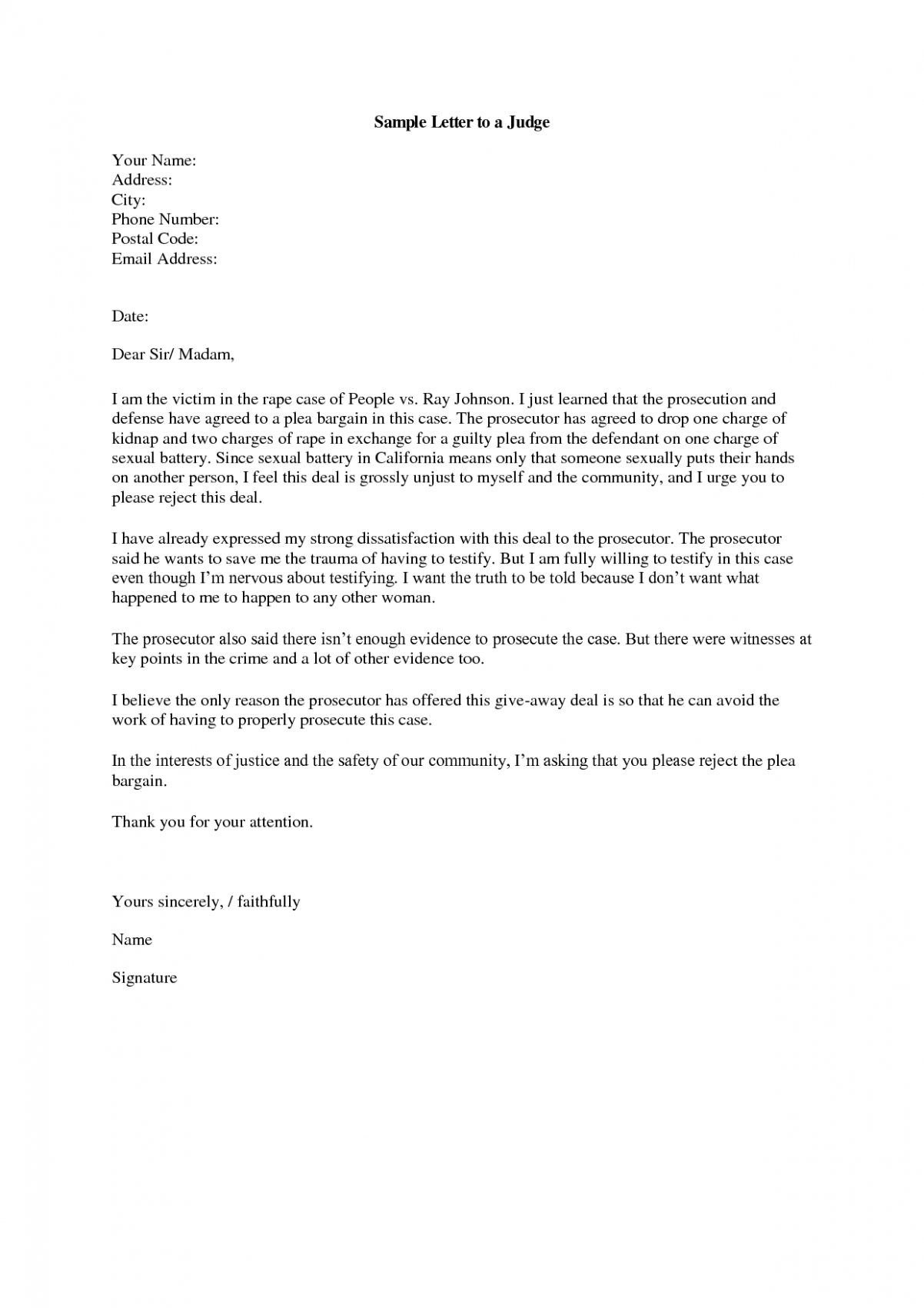 letter template to judge  Best Photos of Recommendation Letter To Judge Template ..