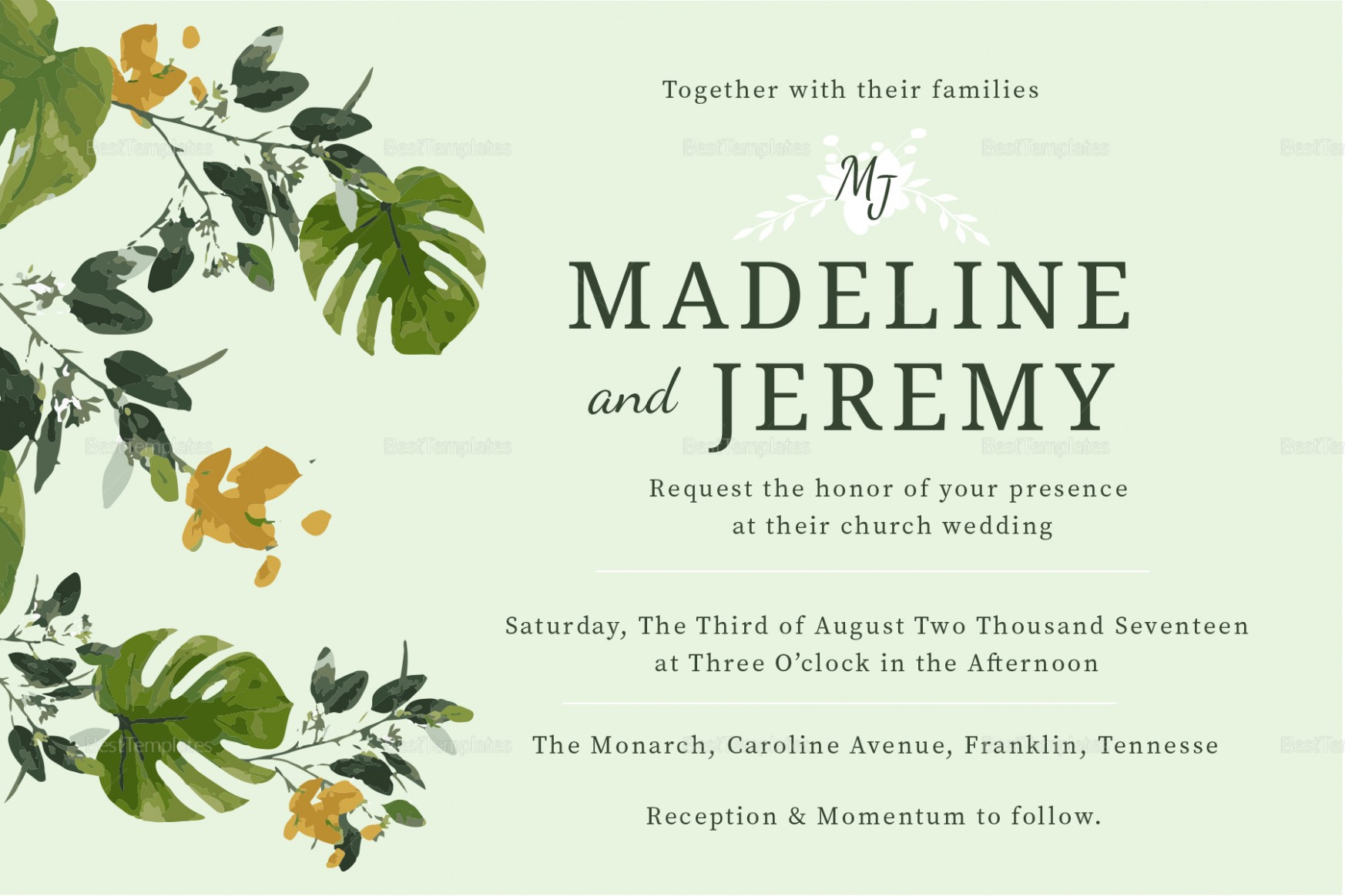 invitation card template landscape  Church Wedding Invitation Design Template in PSD, Word ..