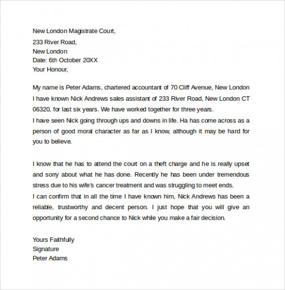 letter template to judge  FREE 11+ Character Letter Templates For Court in PDF | MS Word - letter template to judge