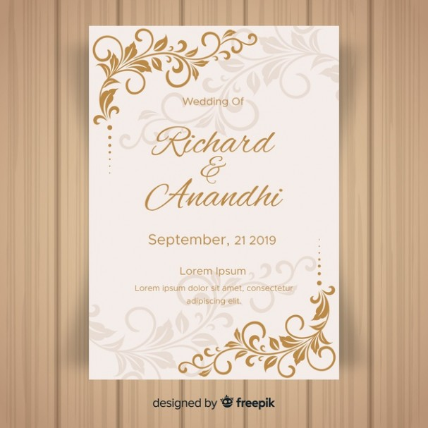 wedding e card template free download  Leaf ornaments wedding invitation template Vector | Free ..