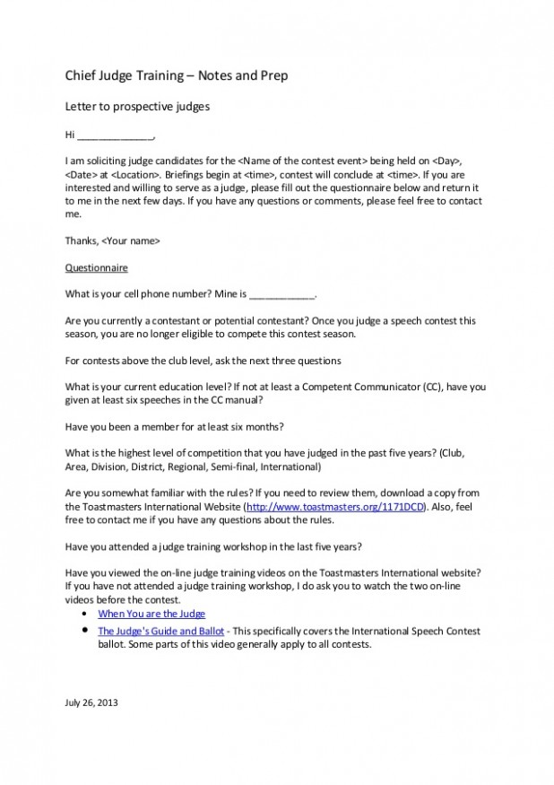 letter template to judge  Letter to prospective judges template - letter template to judge