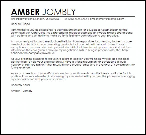 letter template aesthetic  Medical Aesthetician Cover Letter Sample | Cover Letter ..