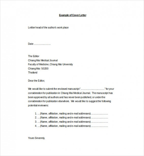 cover letter template journal  Medical Cover Letter Template - 4+ Free Word, PDF ..