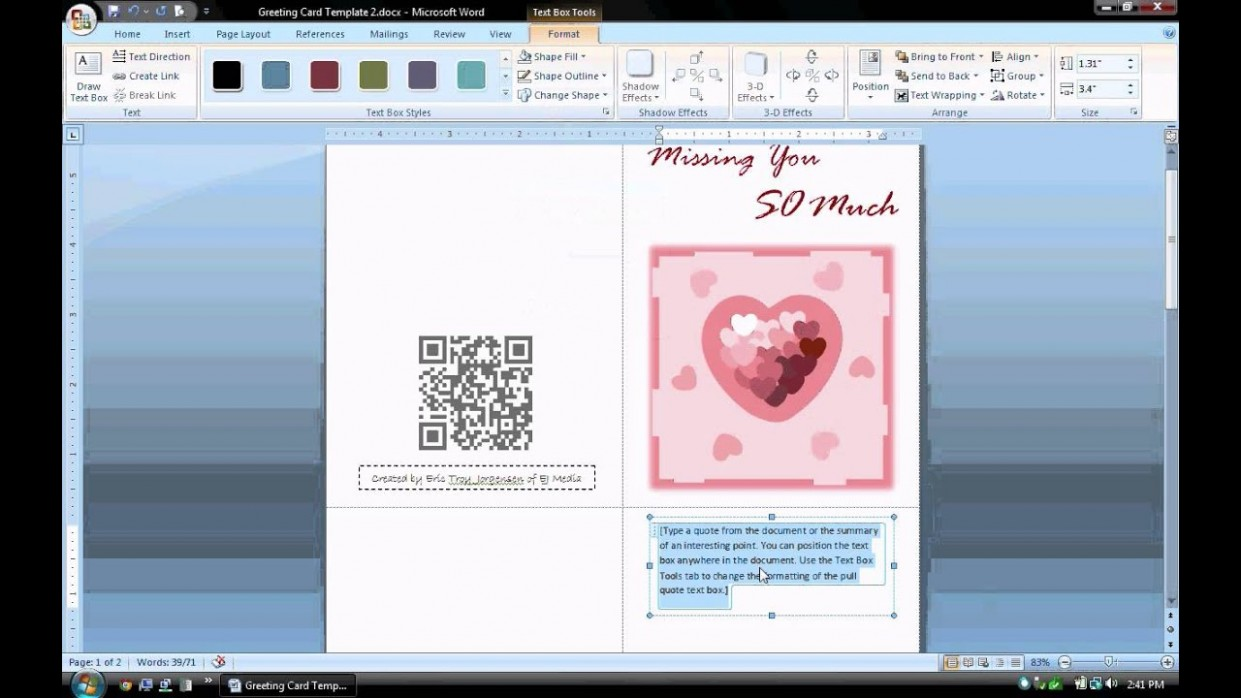 card template in word  MS Word Tutorial (PART 1) - Greeting Card Template ..