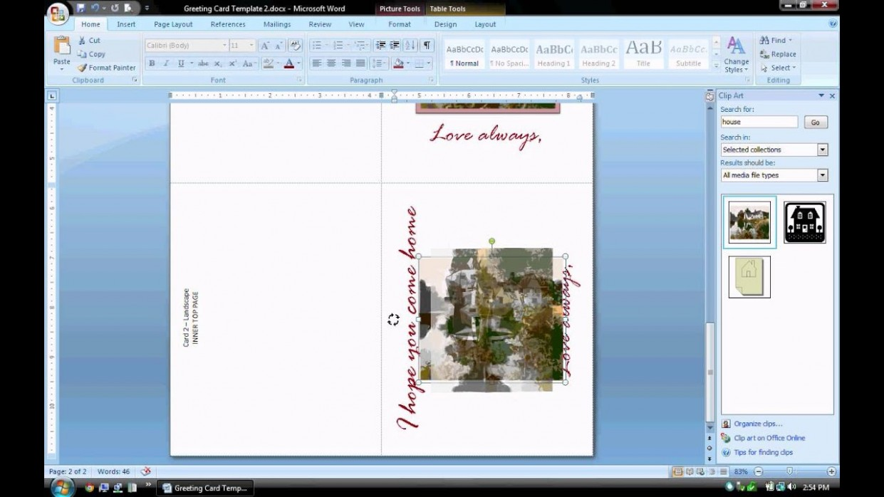 card template in word  MS Word Tutorial (PART 2) - Greeting Card Template ..