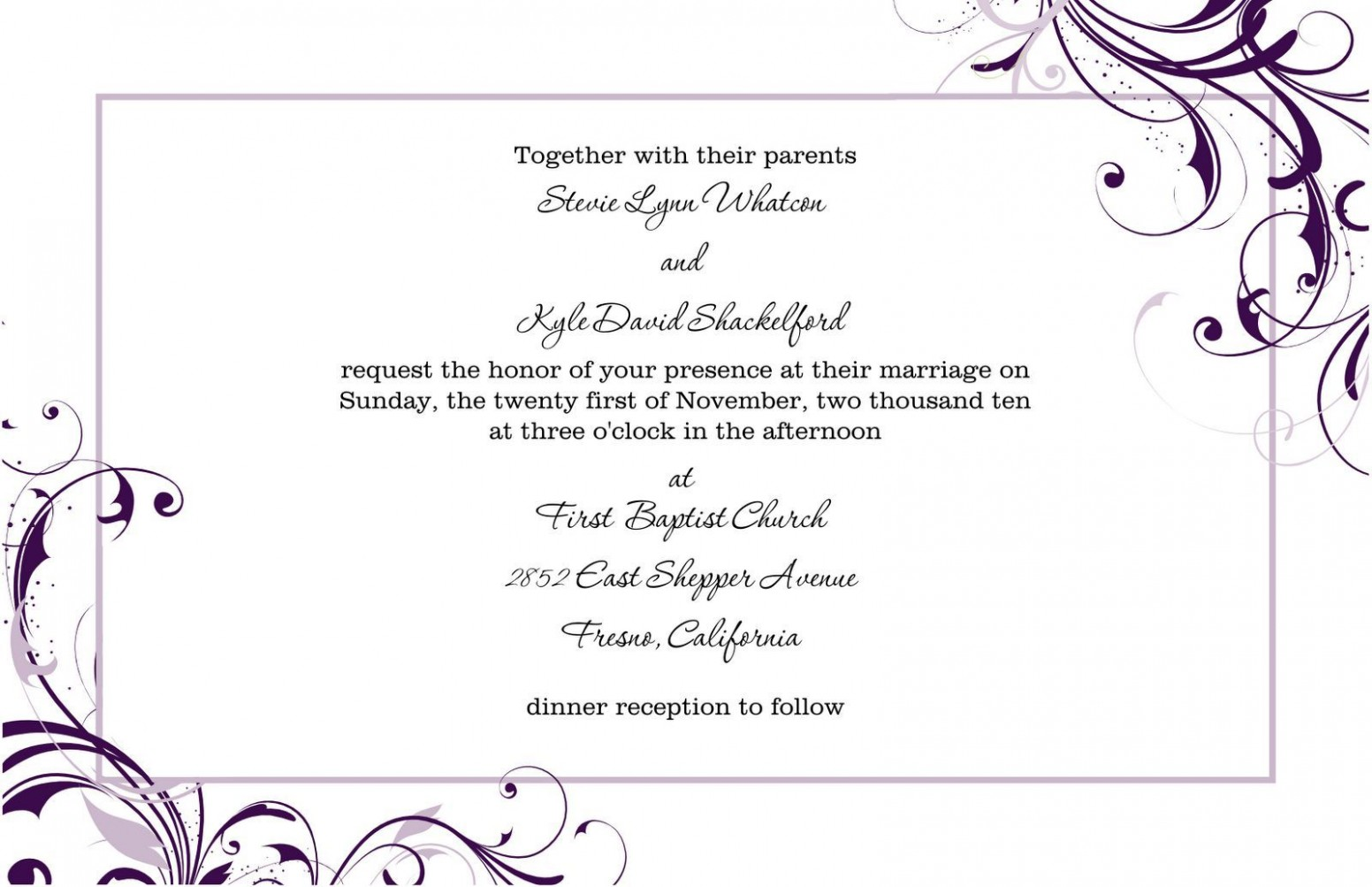 invitation card template landscape  Pin by Marina on wedding invitation letter in 2019   Free ..