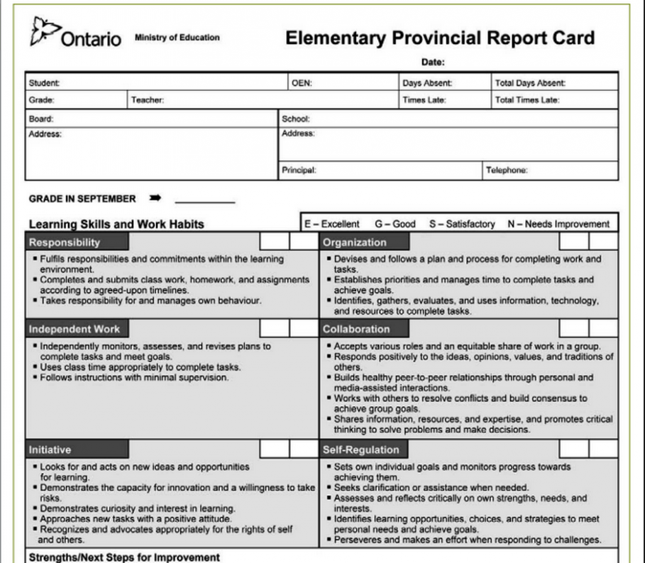 report card template ontario  Reports Cards: Then (1939) & Now (2017) | The Heart and ..