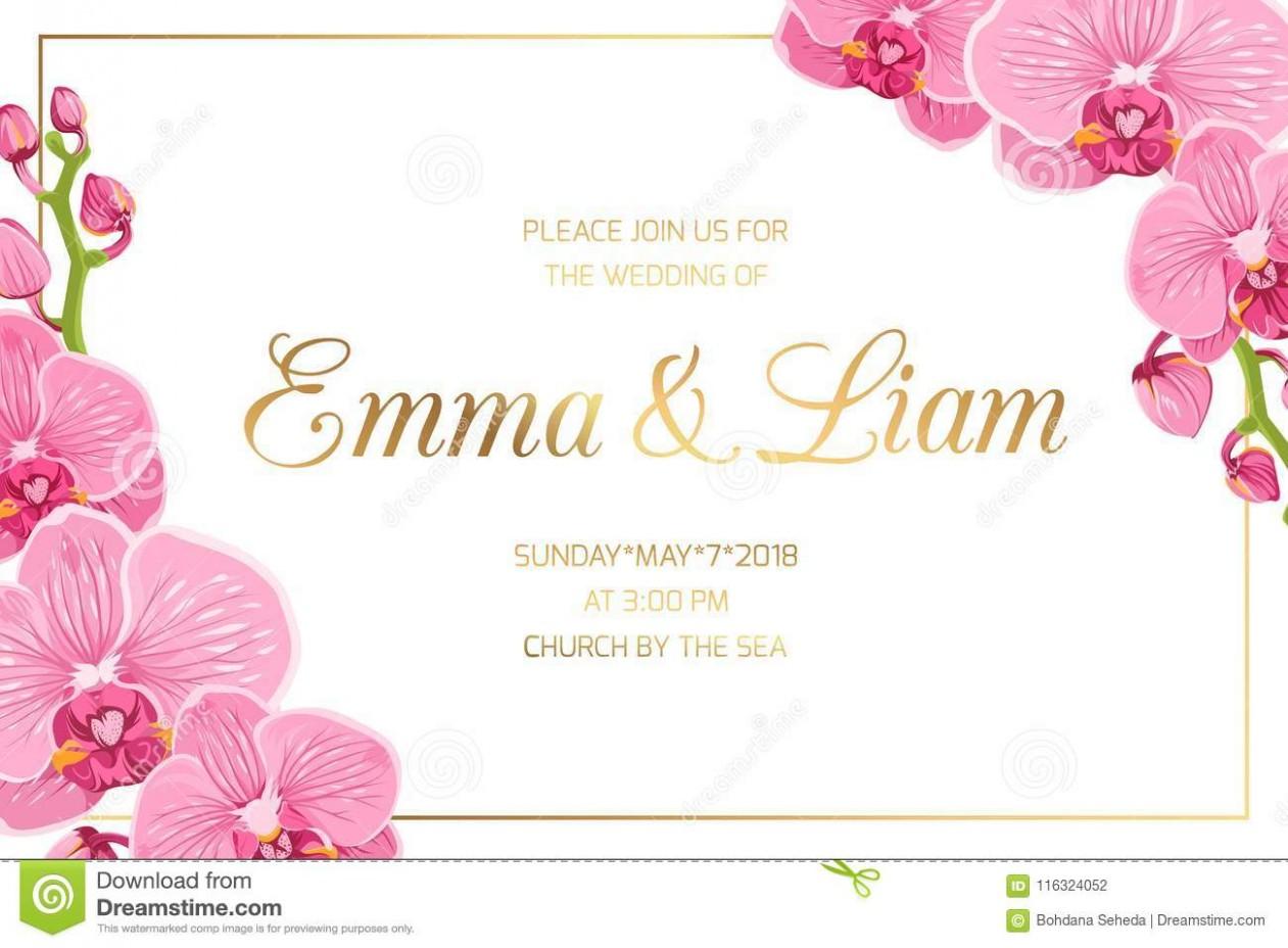 invitation card template landscape  Wedding Invitation Border Frame Corner Pink Orchid Stock ..