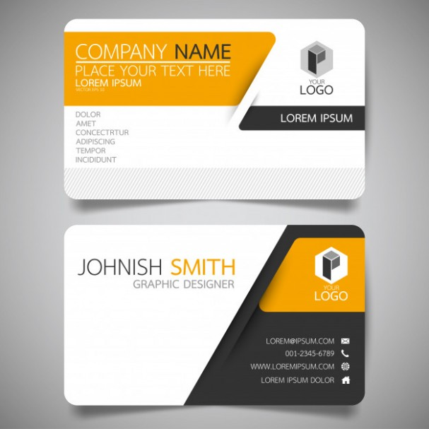 v card design template  Yellow and black layout business card template. Vector ..