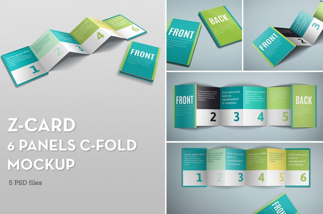 z card template free  Z-Card Mock-up - 6 Panels C-Fold ~ Print Mockups ..