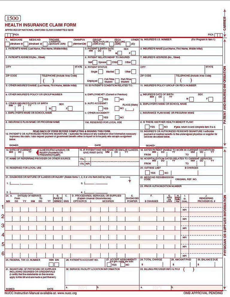 CMS 1500 Claim Form Versions and Tips - a claim form used to bill outpatient facility charges