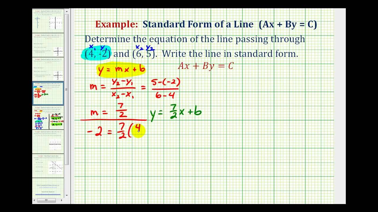 Ex 2: Find the Equation of a Line in Standard Form Given ..