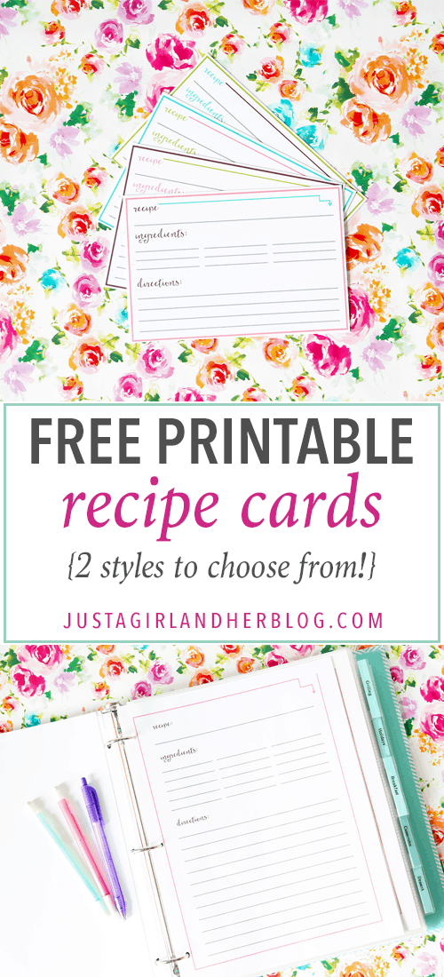 Free Printable Recipe Cards - Just a Girl and Her Blog - avery template index cards
