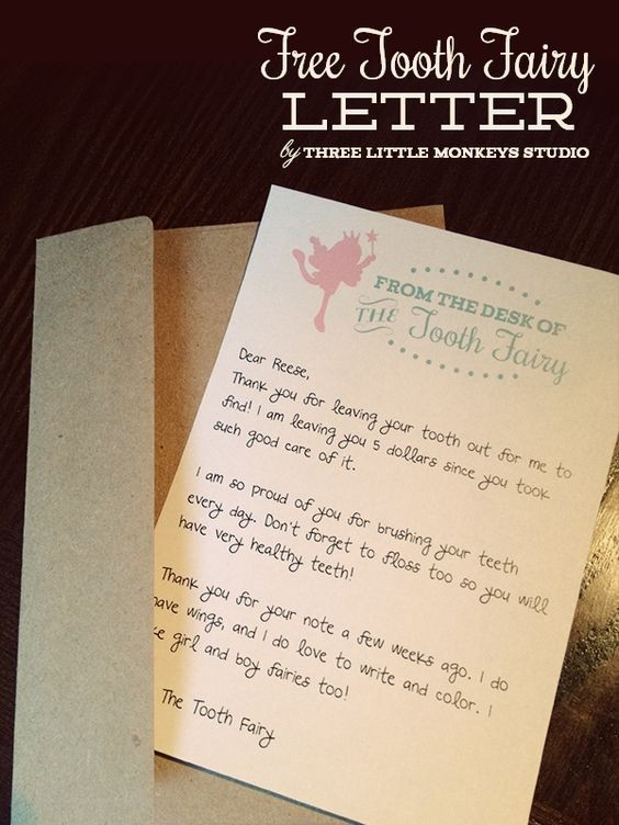 Free Tooth Fairy Letter by Three Little Monkeys Studio ..
