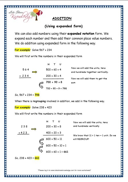 Grade 3 Maths Worksheets: Addition (3.5 Addition Using ..