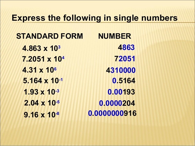 Chapter 1 standard form - standard form images