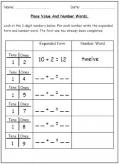 expanded form hundreds tens ones  Number Words & Place Value Worksheets (Tens & Ones). by ..