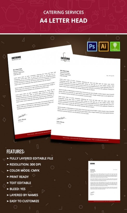 letter templates free  Catering Services Letterhead Templates - Word, PSD, AI ..