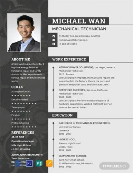 resume template artist  FREE Mechanic Resume Template - Word (DOC)   PSD ..