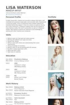 resume template artist  makeup artist Resume Example   Makeup artist resume ..